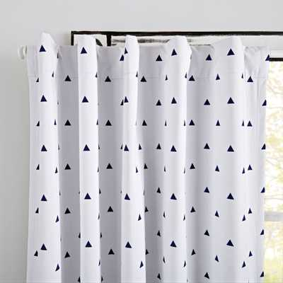 "Little Prints Blue Triangle 63"" Blackout Curtain - Crate and Barrel"