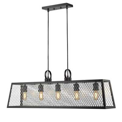 Golden Lighting Abbott 5-Light Black Chandelier with Chrome Mesh Shade - Home Depot