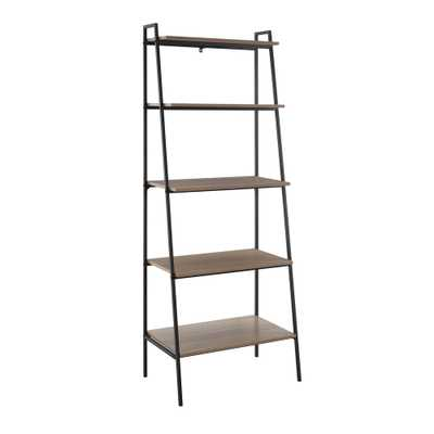 72 in. Mocha (Brown) Metal and Wood Ladder Shelf - Home Depot