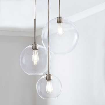 Sculptural Glass 3-Light Round Globe Chandelier, S-M-L Globe, Clear Shade, Nickel Canopy - West Elm