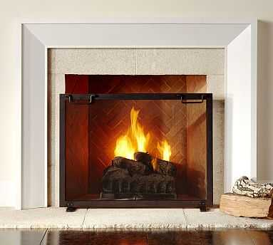 Industrial Fireplace Small Single Screen - Pottery Barn