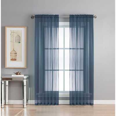 Window Elements Sheer Diamond Sheer Indigo (Blue) Rod Pocket Extra Wide Curtain Panel, 56 in. W x 95 in. L - Home Depot