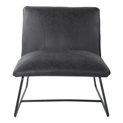 Brocton Charcoal Faux Chair Leather with Gunmetal Frame, Black Faux Leather - Home Depot