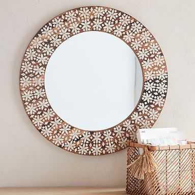 Round Capiz Inlay Mirror - Pottery Barn Teen