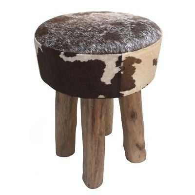 Brown/White Cowhide Leather/Wood Round Stool - eBay