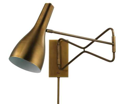 Lenz Swing Arm Wall Sconce in Antique Brass - Jamie Young