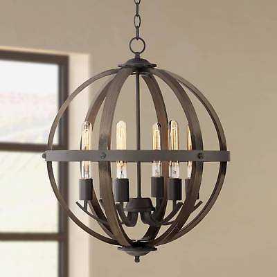"Bronze Chandelier Rustic Orb 6-Light LED 21"" Wide Fixture For Foyer Entryway - eBay"