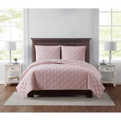Everyday 3D Puff 2-Piece Quilted Blush Twin XL Quilt Set - Home Depot