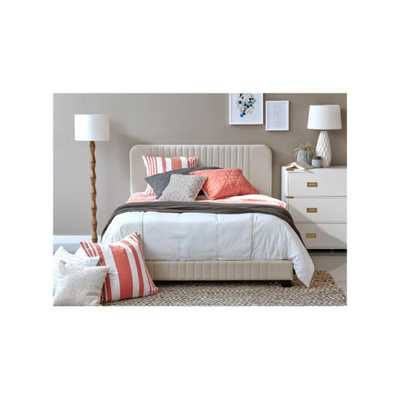 Home Meridian All-in-One Beige King Bed with Channeled Headboard and Footboard - Home Depot