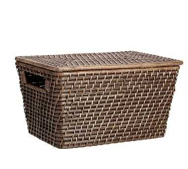 Clive Medium Lidded Baskets, Espresso - Pottery Barn