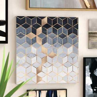 Soft Blue Cubes by Elisabeth Fredriksson - Wrapped Canvas Graphic Art Print - AllModern