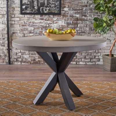 Carina Indoor Iron Pedestal Base, Light Weight Concrete Dining Table - eBay