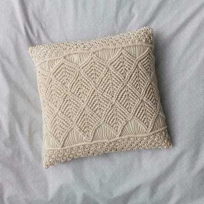 20 in. x 20 in. Natural Macrame Pillow Cover - Home Depot