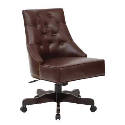 Rebecca Cocoa Bonded Leather Tufted Office Chair with Nailheads with Espresso Base, Coca Bonded Leather - Home Depot