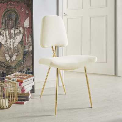 Ponder Upholstered Velvet Dining Side Chair in Ivory - Home Depot
