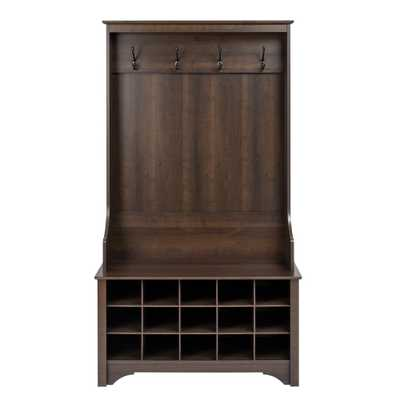 Espresso (Brown) Hall Tree with Shoe Storage - Home Depot