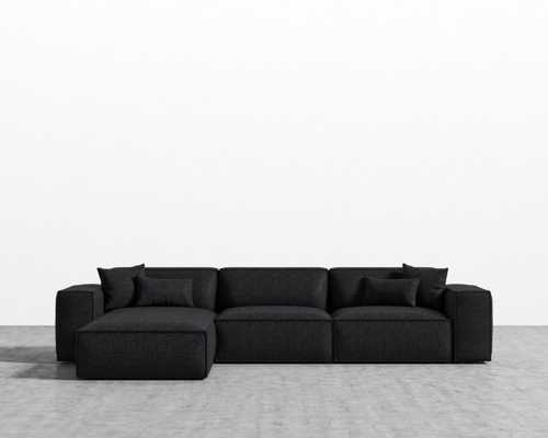 Porter Sectional - Charcoal Black Plastic Right-hand-facing - Rove Concepts