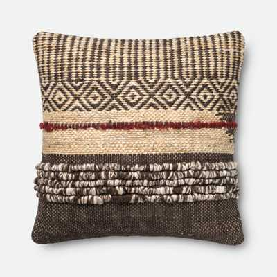 """PILLOWS - BROWN / RED - 22"""" X 22"""" Cover w/Down - Loma Essentials"""