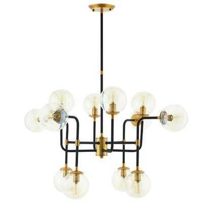Griffen Ambition Amber Glass And Antique Brass 12 Light Pendant Chandelier - Wayfair