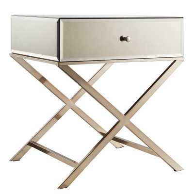 Cecilia Champagne Brass Mirrored End Table - Home Depot