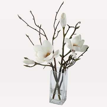 Faux Magnolia in Rectangle Vase, White - West Elm