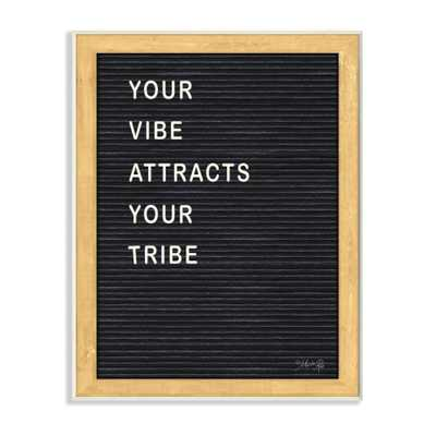 "The Stupell Home Decor Collection 12 in. x 18 in. ""Your Vibe Your Tribe Black and White Framed Letter Board Look Wall Plaque Art"" by Marla Rae, Multi-Colored - Home Depot"