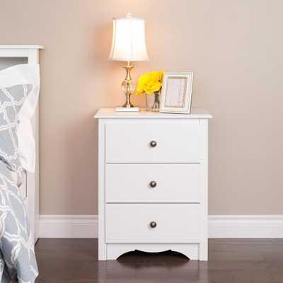 Monterey 3-Drawer White Nightstand - Home Depot