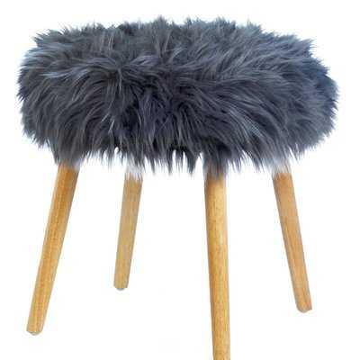 Hovland Faux Fur Stool Vanity Stool - Wayfair