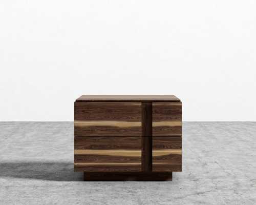 Xander Night Stand - White Stripe Walnut Veneer - Rove Concepts