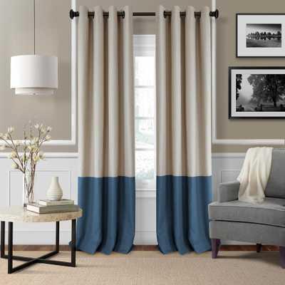 Elrene Braiden 52 in. W x 95 in. L Blackout Grommet Single Curtain Panel in Navy (Blue) - Home Depot