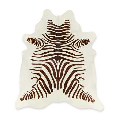 Stenciled Zebra Hair on Hide Rug, 6x7.5', Chocolate - Williams Sonoma