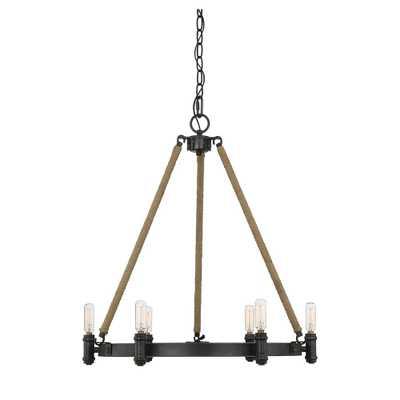 Filament Design 6-Light Rustic Black Chandelier - Home Depot