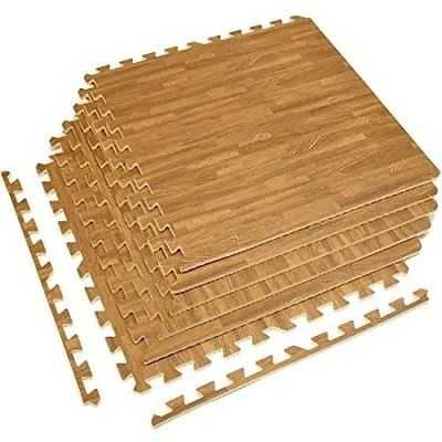 Interlocking Floor Mat - Light Wood Grain Print, 6 Pieces - eBay