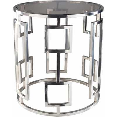 Rhiv 20 in. Chrome Silver Side Table - Home Depot