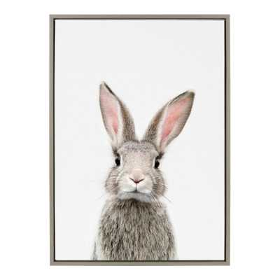 """Kate and Laurel Sylvie """"Animal Studio Female Rabbit"""" by Amy Peterson Framed Canvas Wall Art, Gray - Home Depot"""