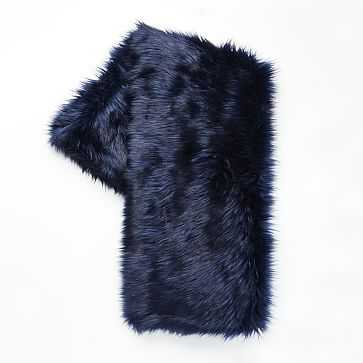 "Faux Fur Brushed Tips Throw, 47""x60"", Nightshade - West Elm"
