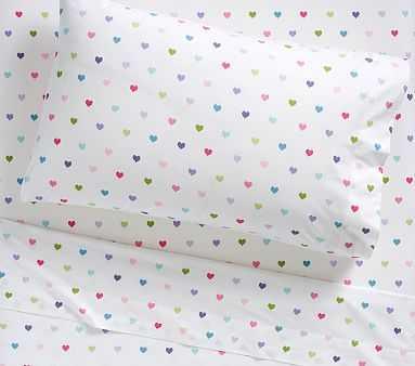 Organic Heart Standard Pillowcase, Bright Multi - Pottery Barn Kids
