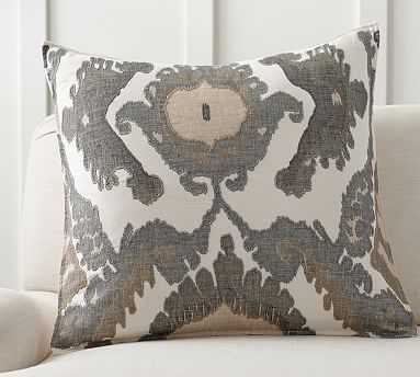 "Hudson Ikat Pillow Cover, 24"", Neutral - Pottery Barn"