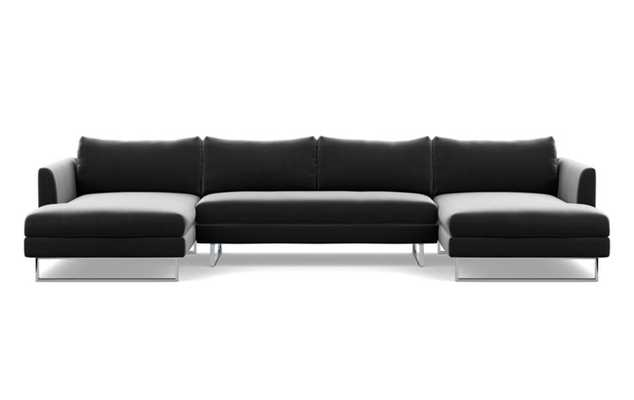 Owens U-Sectional with Narwhal Fabric, Chrome Plated legs, and Bench Cushion - Interior Define