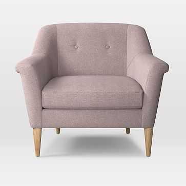 Finn Armchair, Distressed Velvet, Light Pink, Pecan - West Elm