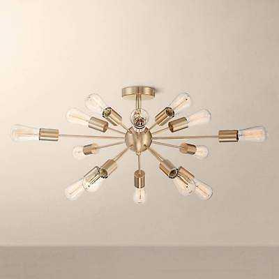 """Possini Euro Hemingson 26""""W Gold 15-Light Led Ceiling Light - eBay"""