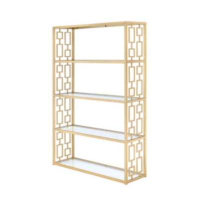 Blanrio Etagere Clear Glass and Gold Bookcase - Home Depot