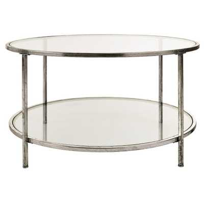 Bella Glass Aged Silver Coffee Table - Home Depot