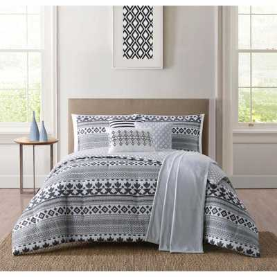 Cardiff White and Black Queen Comforter Set - Home Depot