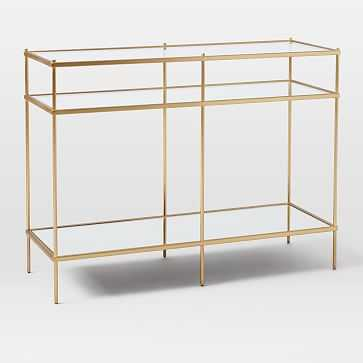 Terrace Console, Glass/Mirror/Antique Brass - West Elm