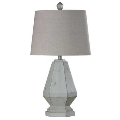 StyleCraft 30 in. Weathered White Table Lamp with Off White Styrene Shade - Home Depot