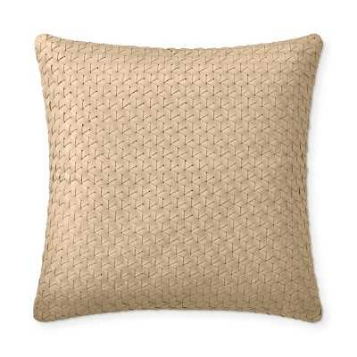 "Interlace Leather Pillow Cover, 18"" X 18"", Ivory - Williams Sonoma"