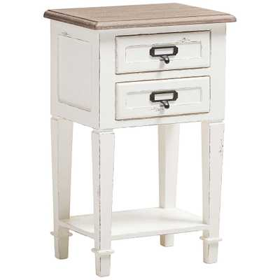 Dauphine Weathered Oak and White Wash 2-Drawer Side Table - Style # 35H52 - Lamps Plus