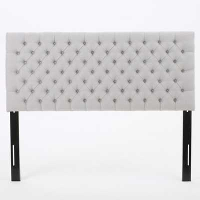 Jezebel Light Grey Fabric Tufted Queen/ Full Headboard, Light Gray - Home Depot