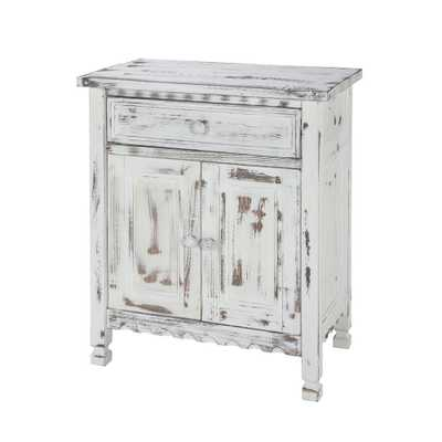 Country Cottage White Antique Accent Cabinet - Home Depot